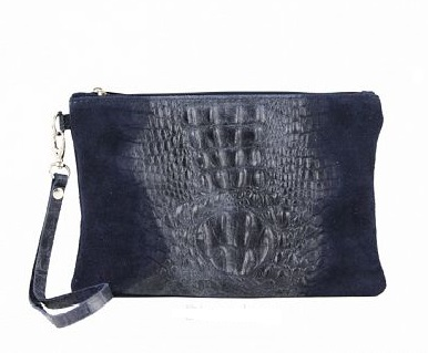 Trendy zwarte croco clutch Ayla