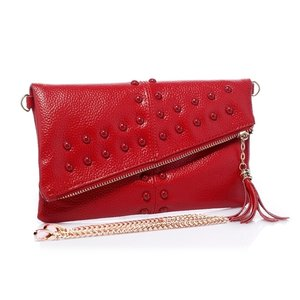 Rode leren clutch Monique
